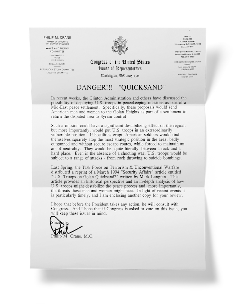 us troops on golan quicksand congress letters